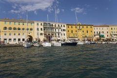Colorful buildings and harbor of Portoferraio, Province of Livorno, on the island of Elba in the Tuscan Archipelago of Italy, Euro Royalty Free Stock Photos
