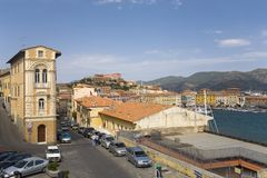 Colorful buildings and harbor of Portoferraio, Province of Livorno, on the island of Elba in the Tuscan Archipelago of Italy, Euro Stock Photography