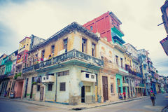 Colorful buildings in Havana street Royalty Free Stock Photo