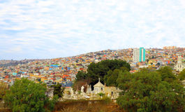 Colorful buildings on the hills of Valparaiso, Chile Royalty Free Stock Photos