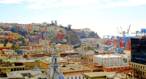 Colorful buildings on the hills of Valparaiso, Chile Royalty Free Stock Photo