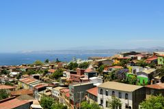 Colorful buildings on the hills of Valparaiso Stock Photos