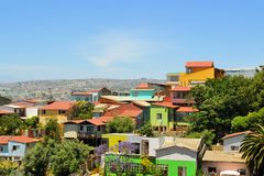Colorful buildings on the hills of Valparaiso Royalty Free Stock Photos