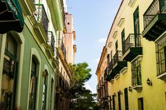 Colorful buildings and historic colonial architecture in downtown Havana, Cuba.  royalty free stock photos