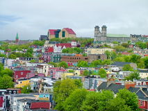 Colorful buildings and houses in St. John`s Stock Image