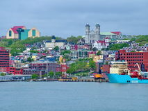 Colorful buildings and houses in St. John`s stock images