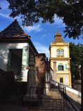 Colorful buildings. Houses in Zsolnay Cultural Quarter Royalty Free Stock Photos