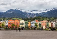 The colorful buildings of Innsbruck stock images