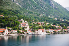 Colorful Buildings on Kotor Bay Royalty Free Stock Photo