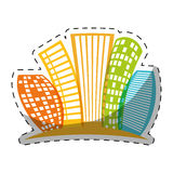 Colorful buildings line sticker design Royalty Free Stock Photos