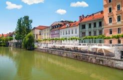Colorful buildings in Ljubljana's old city center, Ljubljana, Sl Stock Photography