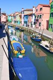 Colorful buildings in main canal Burano island, Ve Stock Photo