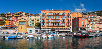 Colorful buildings on the main quay of town Villefranche. France Stock Image