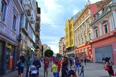 Colorful buildings on main street Stock Photos