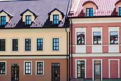 Colorful buildings with many windows located on little street in Ukraine stock photos