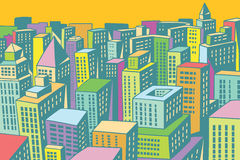 Colorful buildings of the modern city background. Comic book cartoon pop art retro colored drawing vintage illustration Royalty Free Stock Image