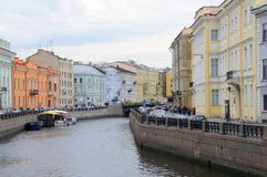 Colorful Buildings on Moika River Royalty Free Stock Image