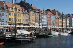The Colorful Buildings of Nyhavn in Copenhagen Stock Photos