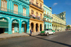 Colorful buildings and old american car in Havana Royalty Free Stock Image