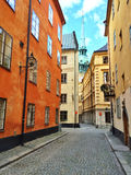 Colorful buildings in the old center of Stockholm Royalty Free Stock Photography