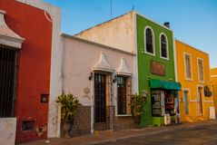 Free Colorful Buildings On Mexican Street. The Centre Of Valladolid In Mexico Yucatan. Royalty Free Stock Image - 113317276
