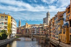 Onyar River and View of Girona, Spain royalty free stock images