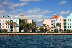 Colorful buildings on Paradise Island, Nassau, Bahamas Stock Photos