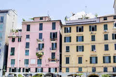 Colorful buildings on Piazza Caricamento  square in Genoa Italy Stock Images