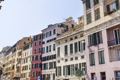 Colorful buildings on Piazza Caricamento  square in Genoa Italy Stock Image