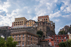 Colorful buildings in the port of Sorrento town. In Italy Royalty Free Stock Images