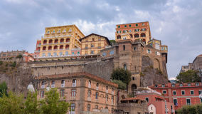 Colorful buildings in the port of Sorrento town. Panoramic view of colorful buildings in the port of Sorrento town in Italy Royalty Free Stock Photos