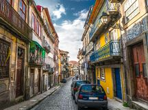 Unique bright and colorful alley in Porto Portugal. royalty free stock images