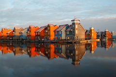 Colorful buildings at Reitdiephaven in morning sunlight Stock Image