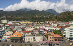 Colorful Buildings in Rosseau Dominica. Colorful shops and markets in Rosseau, Dominica royalty free stock image