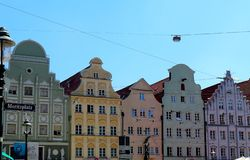 Colorful buildings in a row in Augsburg, Germany royalty free stock image