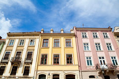 Colorful buildings on Rynok Square in Lviv Stock Photos
