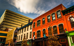 Colorful buildings and shops in Harrisburg, Pennsylvania. Royalty Free Stock Photo
