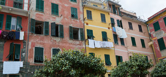 Colorful Buildings with Shutters Angled Royalty Free Stock Photography