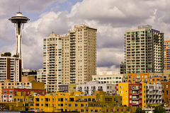 Colorful Buildings and Space Needle Stock Photography
