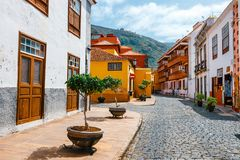 Colorful buildings on the streets of Garachico, Tenerife, Canary Islands, Spain stock image