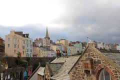 Colorful buildings in Tenby, UK Royalty Free Stock Photos