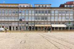 Colorful buildings in Toural Square. Guimaraes. Portugal Stock Images
