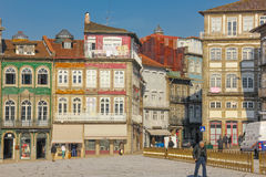 Colorful buildings in Toural Square. Guimaraes. Portugal Stock Image