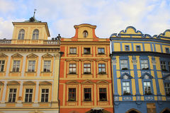 Colorful buildings with traditional architecture, Old Town, Prague royalty free stock photo