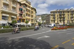 Colorful buildings and traffic in Santa Margarita, the Italian Riviera, on the Mediterranean Sea, Italy, Europe Royalty Free Stock Photography