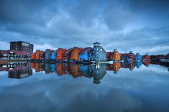 Colorful buildings on water in Groningen. Reitdiephaven, Netherlands Stock Photography