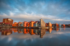 Colorful buildings on water during sunrise, Holland Royalty Free Stock Photography