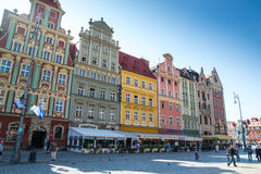 Colorful buildings in Wroclaw city center Stock Images