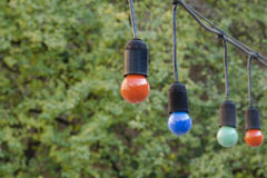 The colorful bulb garland Royalty Free Stock Photography