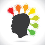 colorful bulb glow on head of people  Royalty Free Stock Images